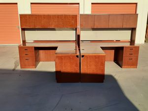 2 Excellent mahogany l shaped corner desks with hutch!! for Sale in Fontana, CA