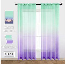 54 x 72 inch length Lilac Turquoise Ombre Sheer Curtains Mermaid Decor Reversible Lilac and Turquoise Voile Reversible Panels 100% Polyester Faux Lin for Sale in Orlando,  FL