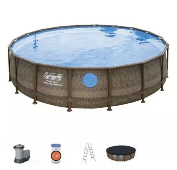 Coleman 18ft x 48in Power Steel Swimming Pool Set