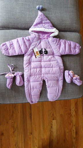 44% OFF Brand New Purple Hooded Snowsuit with Matching Mittens and Booties Age 1-2 Years for Sale in Plainfield, IL