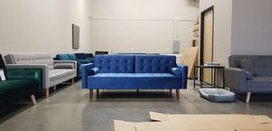 New in box Blue Velvet Mid-Century Modern Sofa Bed Couch Futon with Pillows for Sale in Vancouver, WA