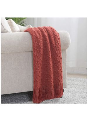 """Bourina Textured Solid Soft Sofa Throw Couch Cover Knitted Decorative Blanket, 50"""" x 60"""", Rust and blue colors for Sale in Las Vegas, NV"""