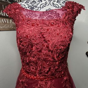 2020 Red Formal Vintage Wedding DressRed Prom Dresses Sleeveless Party Dress Short Sleeve Lace Applique Evening Dresses Red Tulle Dress for Sale in Henderson, NV