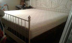 King Size Modern Bed Set White Metal, Box Spring, High Quality Memory Foam Mattress Very Clean Like New for Sale in Walnut, CA