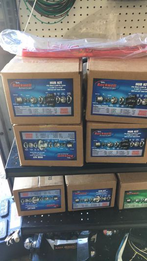 Lawn trailer hubs 5 on 4 1/2 complete in box - We carry all trailer parts and we install hubs - We carry all trailer parts, trailer tires for Sale in Plant City, FL