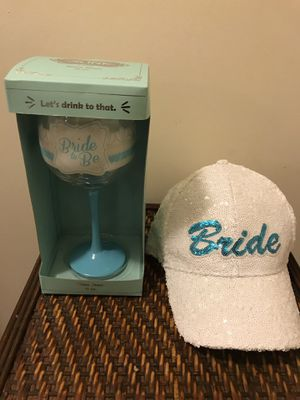 New Tiffany blue sequin bride hat & bride-to-be glass for Sale in TEMPLE TERR, FL