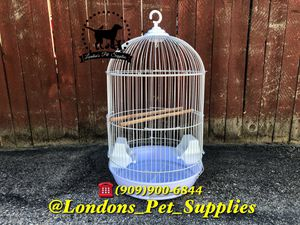 NEW! White Round Bird Cage with Feeders for Sale in Colton, CA