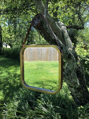 Square Brass with Leather Strap Wall Mirror for Sale in Nashville, TN