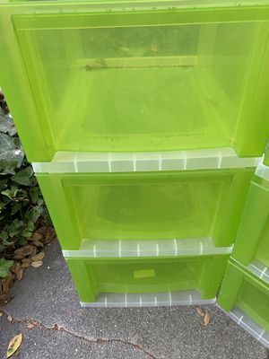 Three Drawer plastics containers with wheels TWO SETS for Sale in Glendale, CA