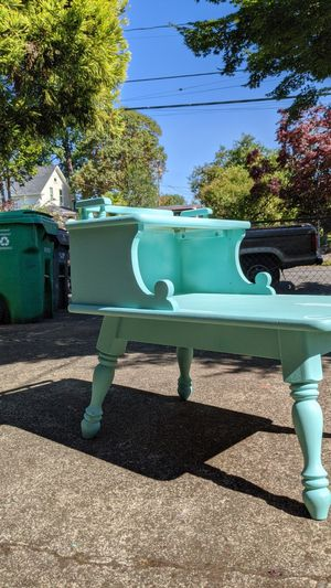 Lil end table. Tiffany blue, can deliver within Portland city limits for 20.00 for Sale in Portland, OR