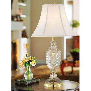 3 Table Lamps Cut Glass Urn Brass White Cream Bell Shade for Sale in Wichita, KS