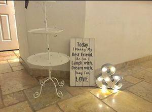 Wedding Decor sign and cake stand for Sale in Phoenix, AZ