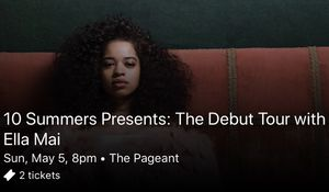 2 tickets to the Ella Mai concert for Sale in St. Louis, MO