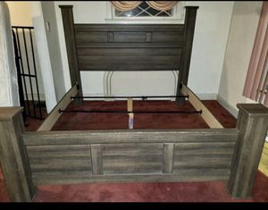 King size bed frame and mattress box spring and rails and slats included for Sale in Garfield Heights, OH
