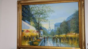 Beautiful Paris Oil Paint canvas with frame for Sale in Miami, FL