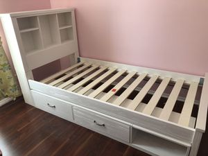 Twin Bed with Bookcase and Storage for Sale in Buffalo Grove, IL