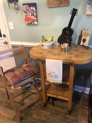 Cafe Rolling Table And 2 Tall Wood Chairs for Sale in Chesapeake, VA