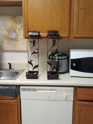 2 beautiful black and red wall candle holders for Sale in Concord, NC