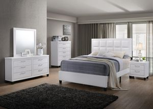 New! White 5PC Queen Bedroom Set + FREE DELIVERY!! for Sale in Silver Spring, MD