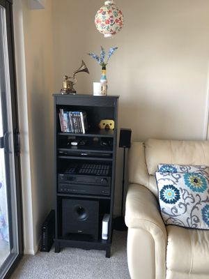 Onkyo AV + Energy Take 5.1 Speaker with 4 count floor standing stand for Sale in Lindenwold, NJ