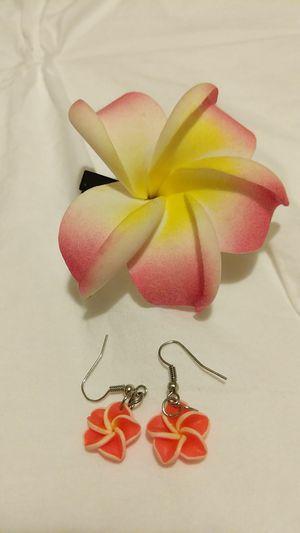 Plumeria earrings and hair clip set for Sale in San Bernardino, CA