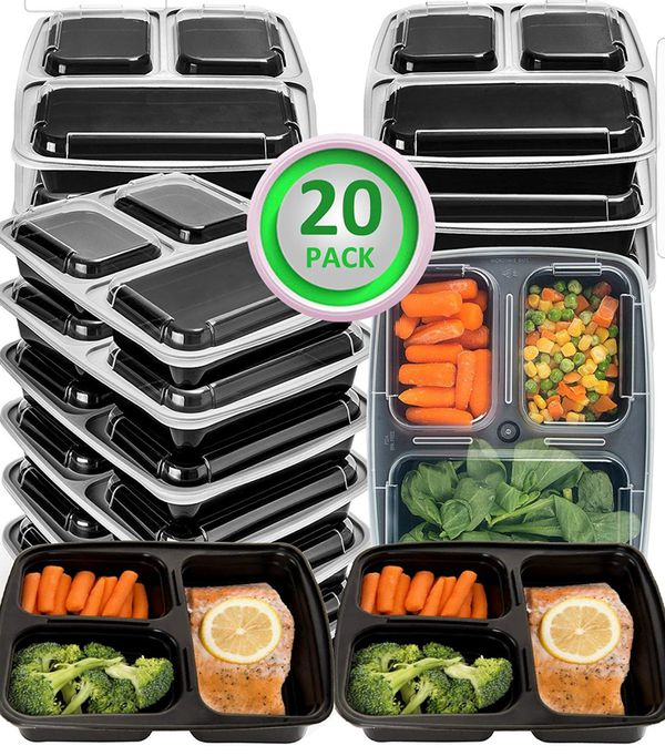 20 Pack Meal Prep Containers 2 and 3 Compartment Bento & Mealcon Microwave Dishwasher Freezer Safe Food Storage Containers with lids-Portion Control