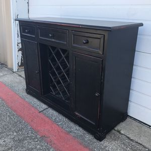 Read post first. Wood bar buffet wine bottles rack storage door shelve stand with three drawers for Sale in Irving, TX