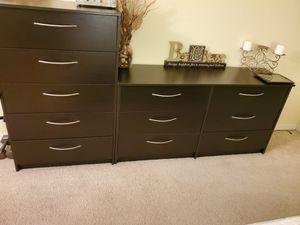 3 piece espresso brown bedroom dresser, chest, nightstand for Sale in Tampa, FL