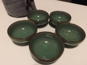 Tea cup set (comes in 5 and bag) for Sale in Davis, CA