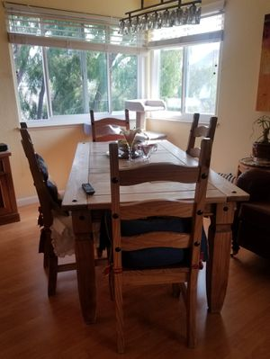 Refectory table, chairs & hutch for Sale in Alameda, CA