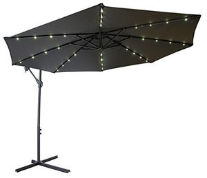 New in box 10 feet diameter offset off set umbrella with built-in LED solar powerd light with cross stand included for Sale in Whittier, CA