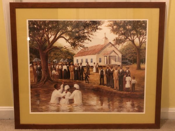 Black Art- Church Baptism- Beautifully framed and preserved