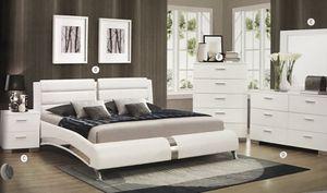 Brand new queen size bedroom set with queen size bed nightstand dresser mirror mattress for Sale in Hialeah, FL