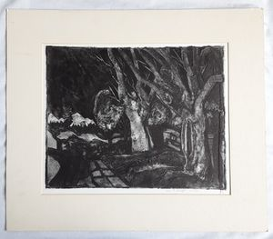 A vintage Mid-century Modern Deep Etching Landscape by Pacific Northwest Artist William E. Knight for Sale in Tacoma, WA