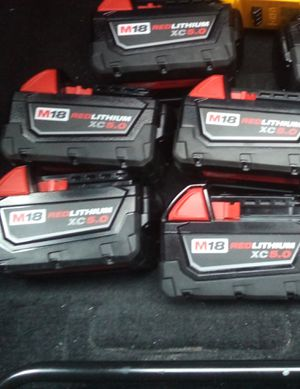5 milwaukee 5amp m18 batterys. for Sale in Largo, FL