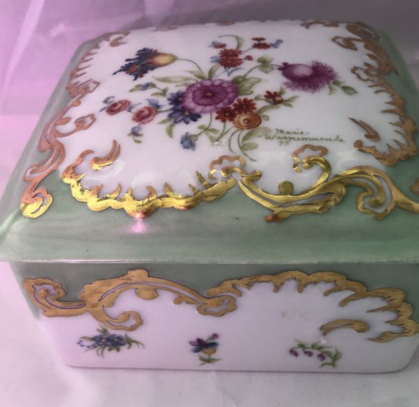 Limoges lidded Square Jar signed by artist and dated