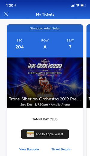 3 Tickets to Transiberian Orchestra 12/15 7:30 Amalie for Sale in Gulfport, FL
