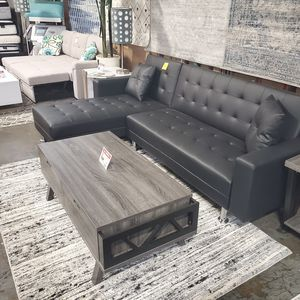 New, Leather Sectional Sofa Bed, Black, SKU# 8036BK for Sale in Tustin, CA