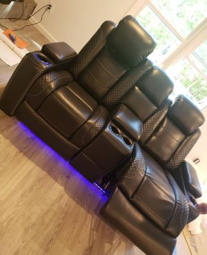 Party Time White LED Power Reclining Loveseat with Adjustable Headrest / Couch / Living room set for Sale in Houston, TX