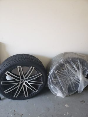 "22"" x 9"" Ruff Racing R955 Flat Black & Machined Rims w/tires for Sale in Waldorf, MD"