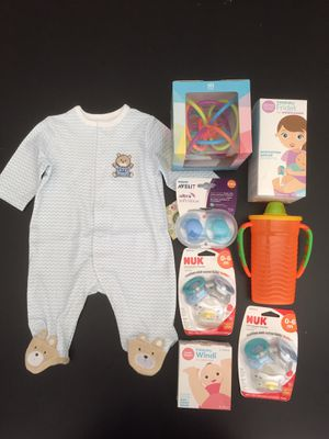 NEW BABY BUNDLE ITEMS FOR NEWBORN, LOT OF 8, SEALED for Sale in Torrance, CA