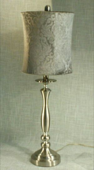 """Silver Metal Table Lamp with Velvet Shade 28""""x10"""" (1 available) *PICKUP ONLY* home decor, household, lamps, table lamps for Sale in Mesa, AZ"""