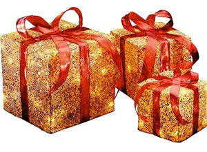 Set of 3 GOLD Gift Boxes with Clear Lights Holiday Decor for Sale in Los Angeles, CA