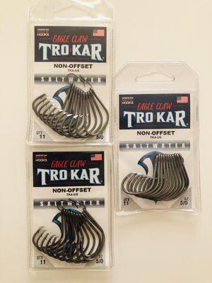 TROKAR Non-Offset Saltwater Hooks, Size. 5/0 $6 PER PAC. 3 Packs Left for Sale in San Bernardino, CA