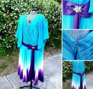 Mother Of Bride Chiffon Plus Size 30 Roamans Dress with Jacket Turquoise/White/Purple for Sale in Neptune Beach, FL