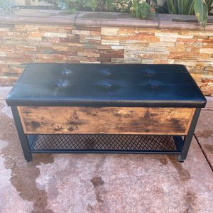 Industrial Storage Bench, Shoe Bench, Bed End Stool with Padded Seat and Metal Shelf, Storage Chest, Sturdy Steel Frame,Hallway, Living Room, Rustic for Sale in Corona, CA