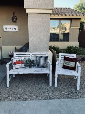 Farmhouse bench -chair and pillows for Sale in Peoria, AZ
