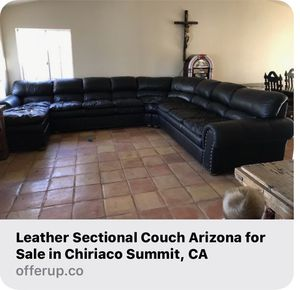 Leather Sectional. Arizona brand . Black Very Nice! for Sale in Chiriaco Summit, CA