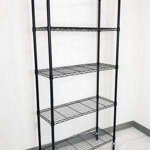 "New in box $70 Metal 5-Shelf Shelving Storage Unit Wire Organizer Rack Adjustable w/ Wheel Casters 36x14x74"" for Sale in Whittier, CA"