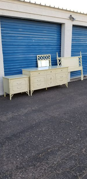 Vintage Dixie faux bamboo bedroom set. Set includes: dresser, mirror, nightstand & queen headboard. for Sale in Phoenix, AZ